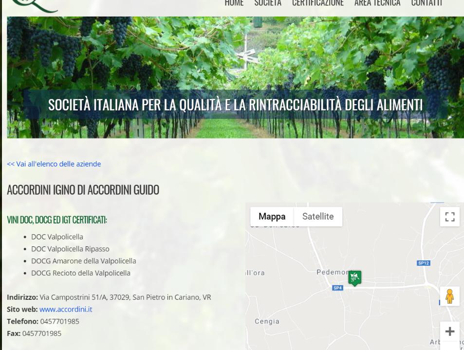Certificato Amarone DOCG di Accordini Igino